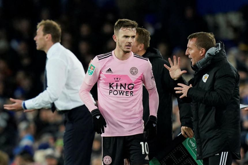Leicester City manager Brendan Rodgers with James Maddison during the Carabao Cup match against Everton at Goodison Park on Dec 18, 2019.