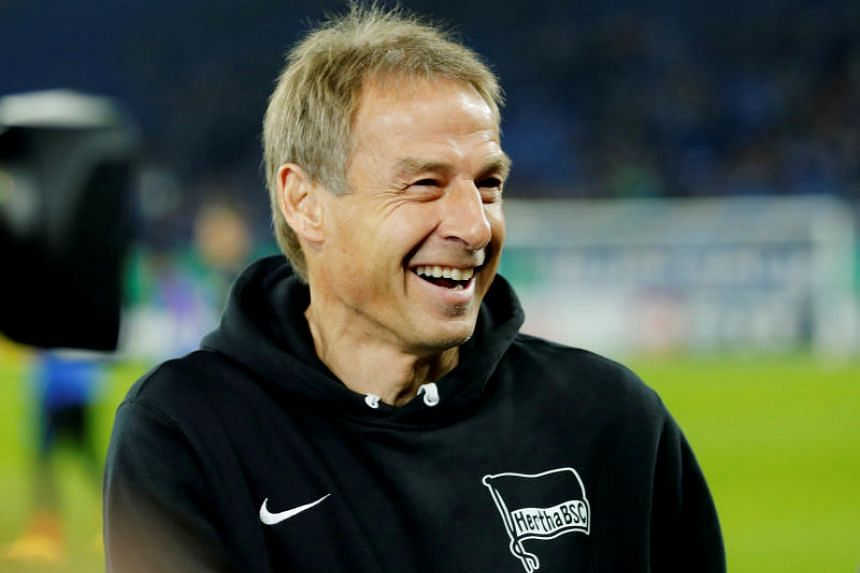 Coach Jurgen Klinsmann before a match between Schalke 04 and Hertha BSC in Veltins-Arena, Germany, on Feb 4, 2020. He left Hertha Berlin after only eight weeks in charge.