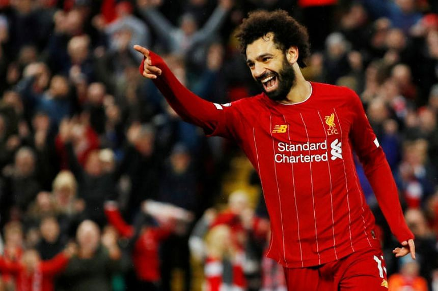 Liverpool's Mohamed Salah celebrates scoring a goal in the match between Liverpool and Southampton on Feb 1, 2020.