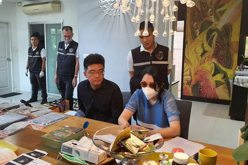 A handout photo from the Royal Thai Police's Anti-Trafficking in Persons Division shows a Chinese couple arrested in connection with a surrogacy ring in an undisclosed location in Thailand, on  Feb 13, 2020.
