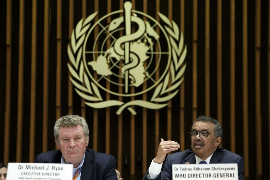 Michael Ryan (left) and WHO chief Tedros Adhanom Ghebreyesus at a press conference on the coronavirus on Feb 12, 2020.