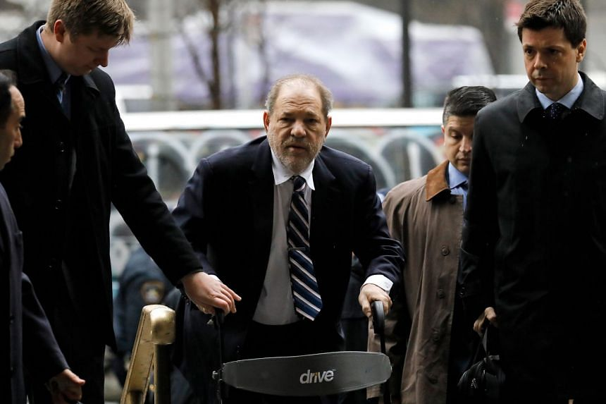 Weinstein (centre) arrives for his sexual assault trial on Feb 13, 2020.