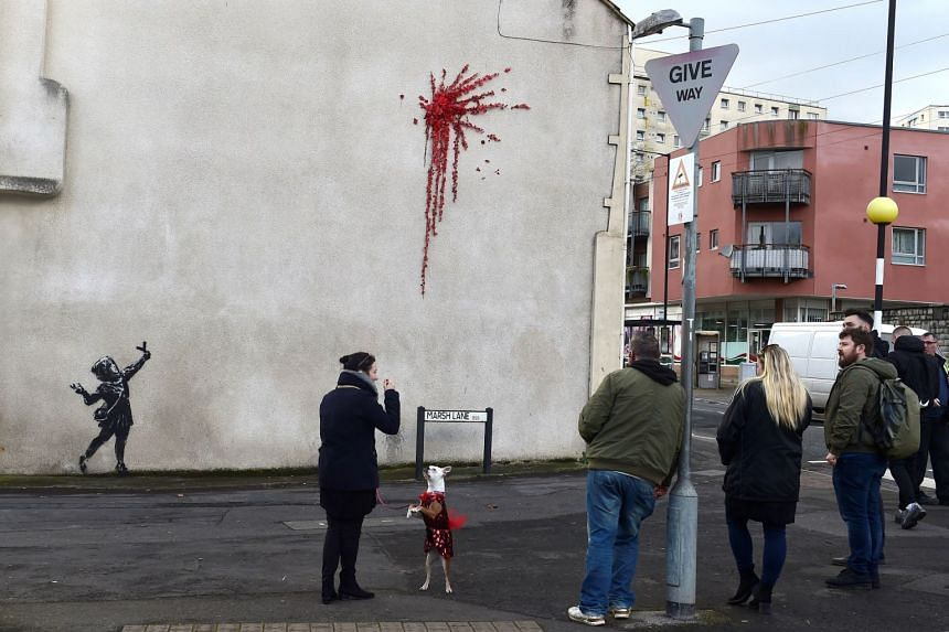 A suspected new mural by artist Banksy is pictured in Marsh Lane in Bristol, Britain.
