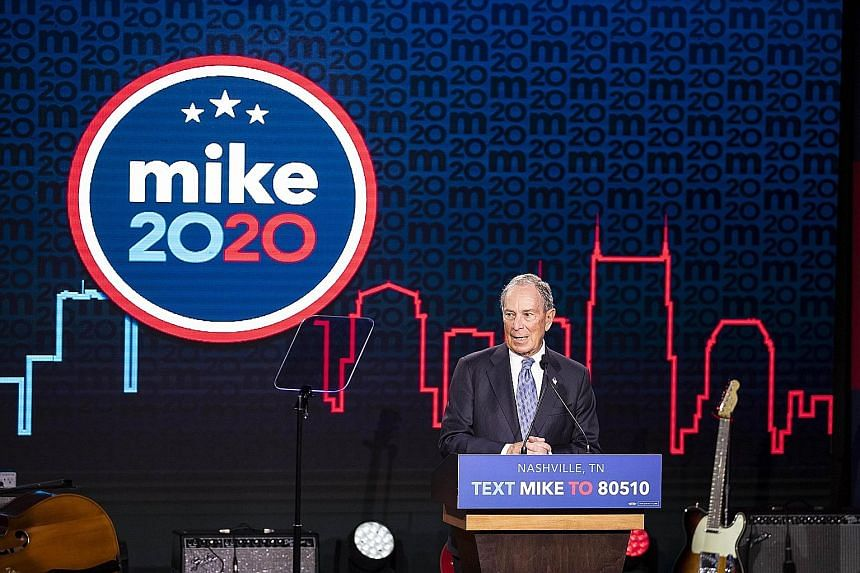 Democratic presidential candidate and former New York City mayor Michael Bloomberg at a campaign rally on Wednesday in Nashville, Tennessee. He could become a potential saviour of the party if no favourite emerges.