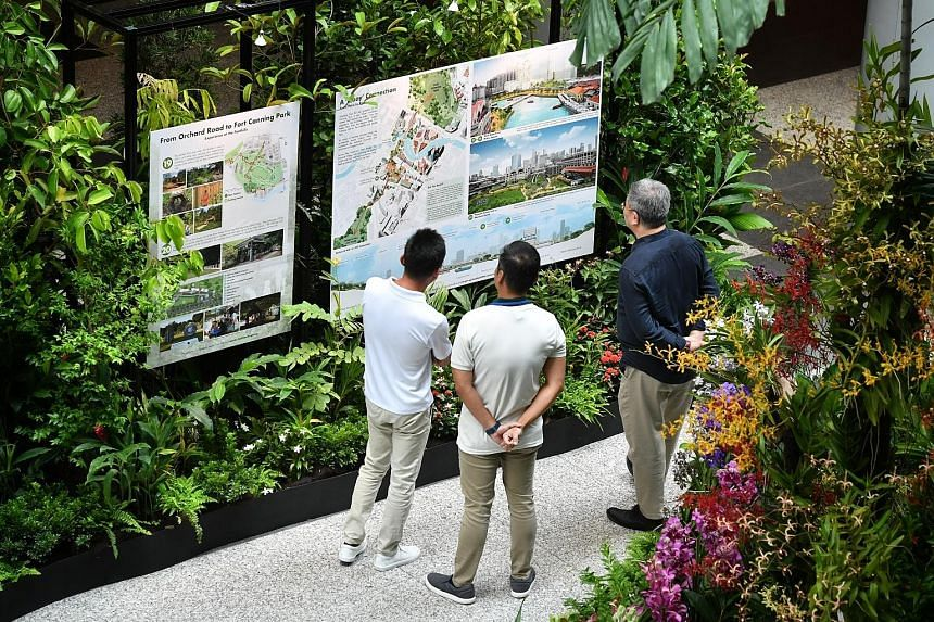Visitors at the public exhibition showcasing the proposals to refresh Orchard Road unveiled by the National Parks Board and Urban Redevelopment Authority yesterday.