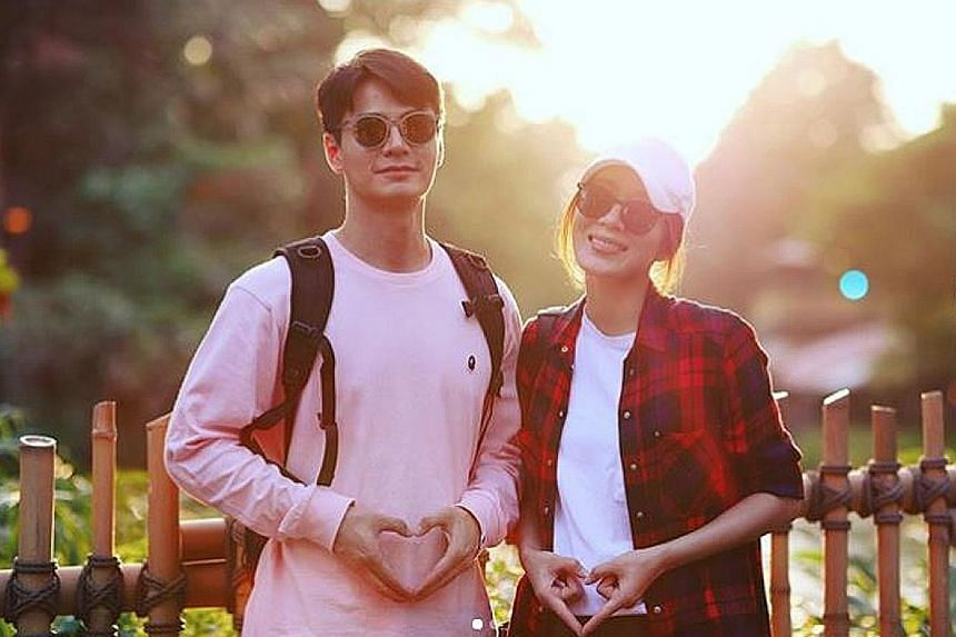 Hong Kong actress Tavia Yeung announced her pregnancy on social media with a photo of her and husband Him Law using their fingers to form heart shapes near their tummies.