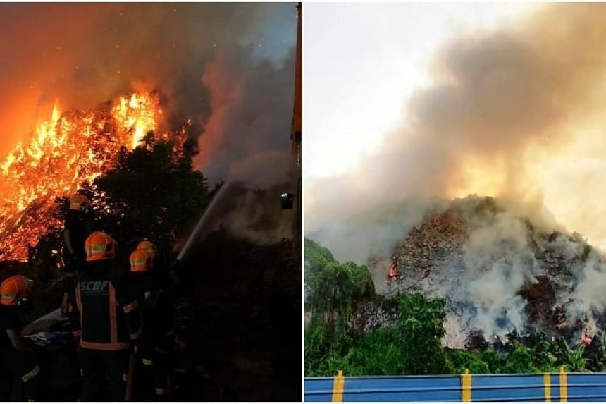 The blaze at 131 Lorong Semangka in Choa Chu Kang is believed to be caused by wood waste left in the area by a company.