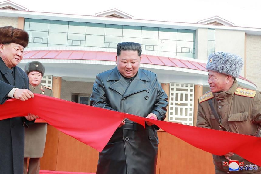 North Korean leader Kim Jong Un attending a ceremony for the completion of the Yangdok County Hot Spring Cultural Recreation Centre in South Pyongan Province, on Dec 7, 2019.