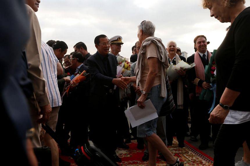 Cambodia's Prime Minister Hun Sen welcomes passengers of MS Westerdam.