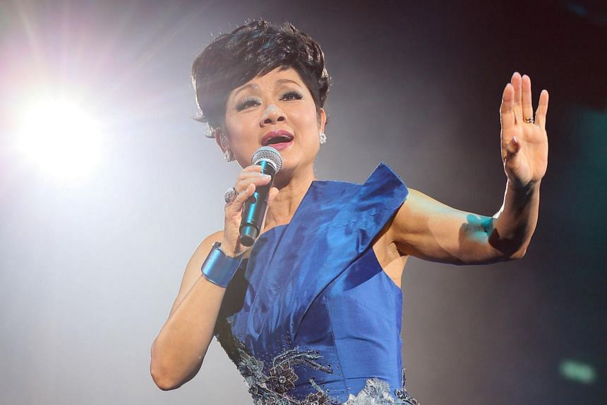 Hong Kong Cantopop diva Frances Yip performing at a concert in 2018.