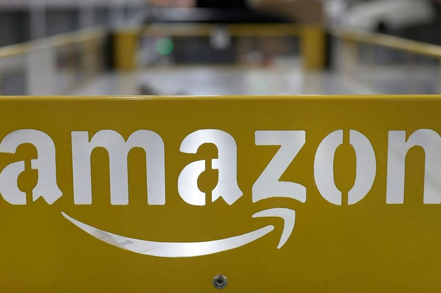 The logo of US online retail giant Amazon at its distribution centre in Moenchengladbach, western Germany.