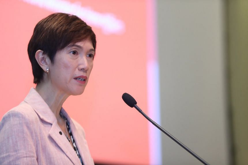 Manpower Minister Josephine Teo speaking at an engagement session with Human Capital Partners and Tripartite Alliance Award winners at the Devan Nair Institute of Employment and Employability on Feb 14, 2020.
