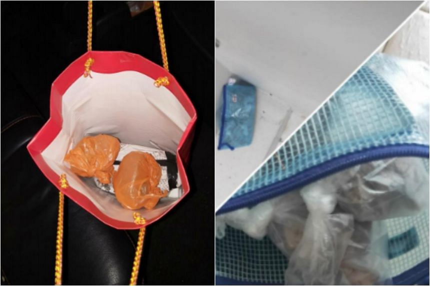 Some of the drugs seized during the Central Narcotics Bureau's operations near Tampines Street 24 (left) and near Ang Mo Kio Avenue 1.
