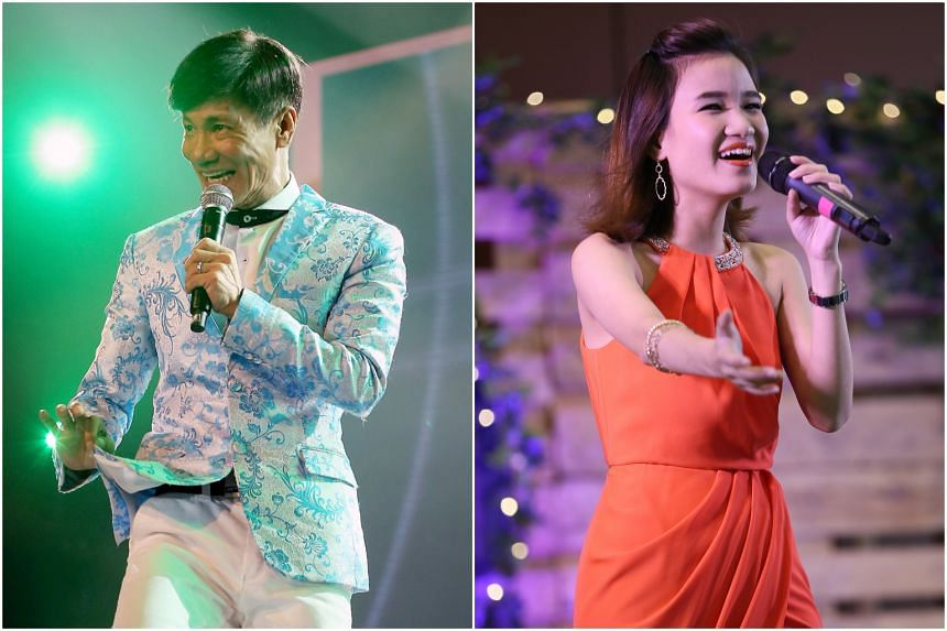 Wang Lei (left) and Lee Pei Fen were among the singers due to perform at a getai performance at the Singapore Indoor Stadium on March 6, 2020.