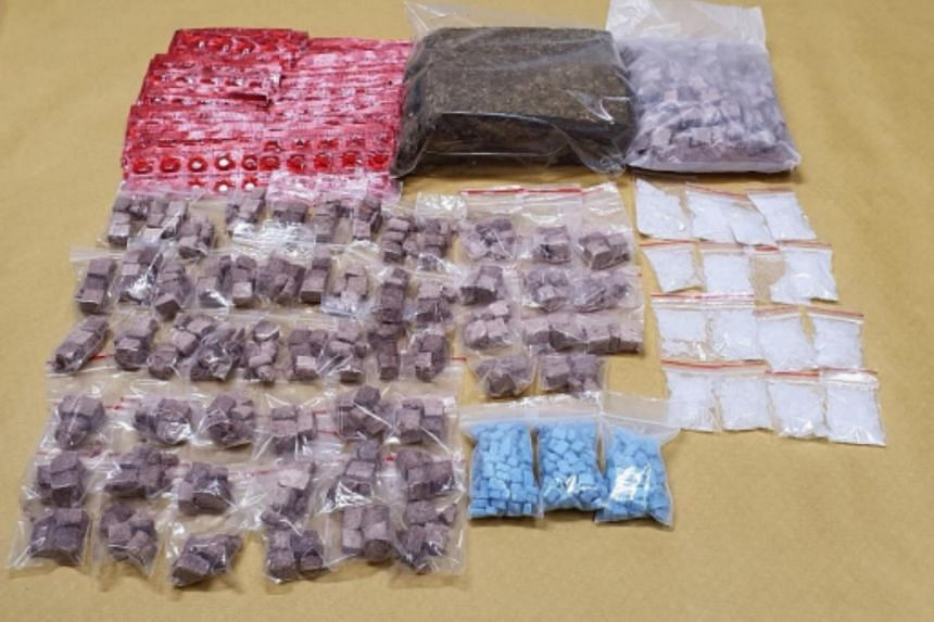 Some of the drugs seized during the Central Narcotics Bureau's operation on Feb 13, 2020.