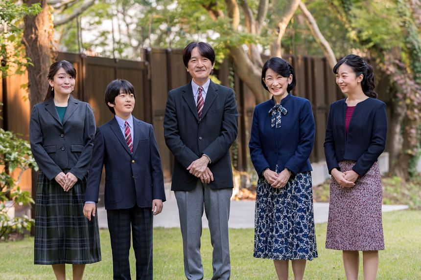 Japan's Prince Hisahito (second from left) with his father Crown Prince Akishino (centre) and the rest of his family in Tokyo on Nov 15, 2019.
