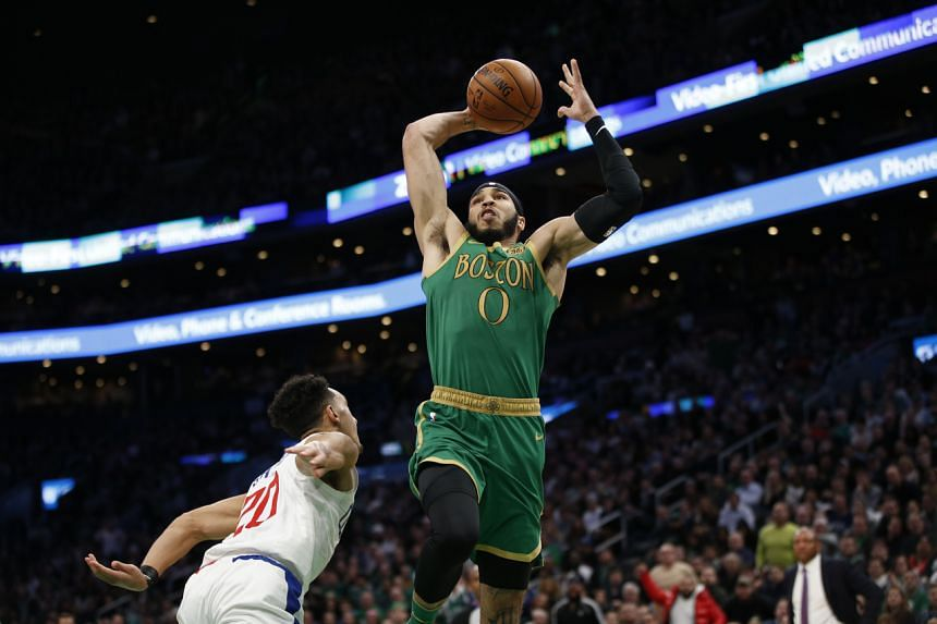 Jayson Tatum of the Boston Celtics (in green) during a  National Basketball Association game against the Los Angeles Clippers on Feb 13, 2020.