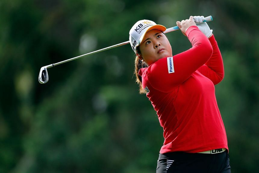 In a file photo taken on August 31, 2018, South Korea's Park In-bee hits on the 13th hole during the second round of the LPGA Cambia Portland Classic.