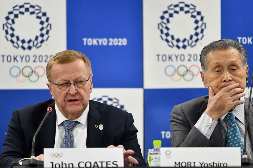 International Olympic Committee coordination commission head John Coates  and Tokyo 2020 organising commitee head Yoshiro Mori at a press conference in Tokyo on Feb 14, 2020.