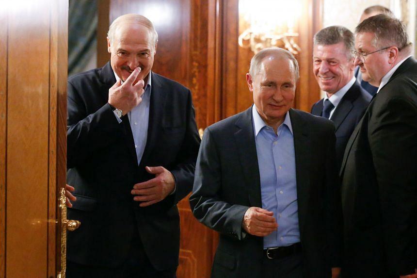 Russian President Vladimir Putin and Belarusian President Alexander Lukashenko during their meeting in the Black sea resort of Sochi on Feb 07, 2020.