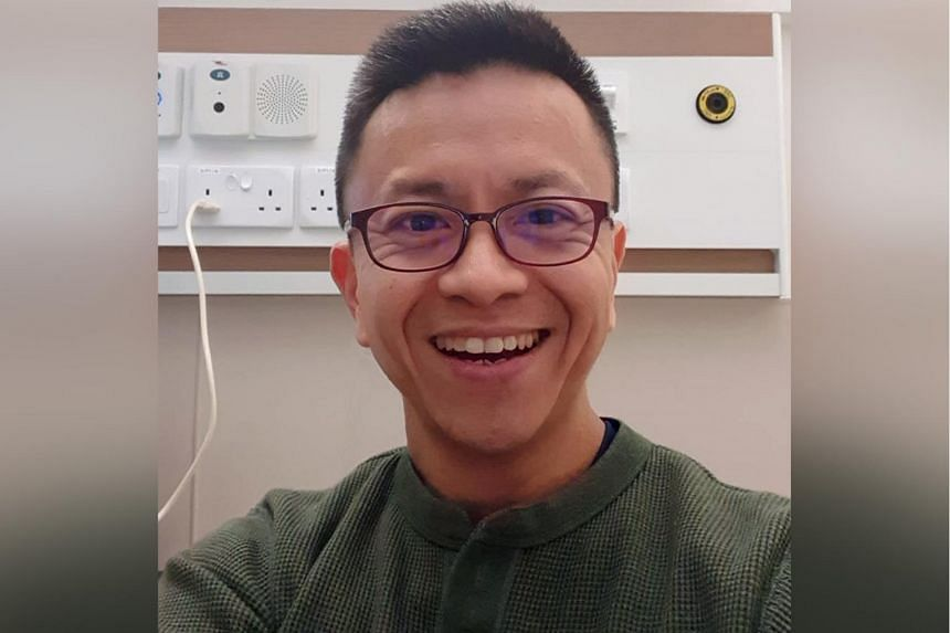 Reverend Wilson Teo in his single isolation room at the National Centre for Infectious Diseases, where he has been warded since Feb 11, 2020.