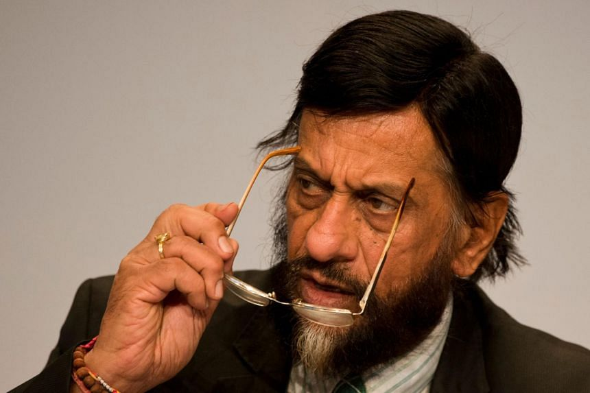 In a file photo taken on April 13, 2014, Mr Rajendra Pachauri, the then Chairman of the Intergovernmental Panel on Climate Change addresses a press conference in Berlin.