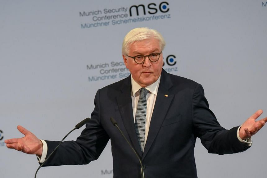 German President Frank-Walter Steinmeier delivering the opening speech of the 56th Munich Security Conference in Munich, on Feb 14, 2020.