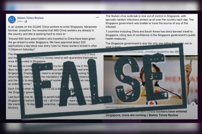 """Health Minister Gan Kim Yong instructed the Protection from Online Falsehood and Manipulation Act Office to issue corrections against """"multiple false statements"""" in a post that States Times Review put up on Feb 13, 2020."""