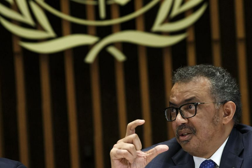 WHO chief Tedros Adhanom Ghebreyesus addresses the media at a coronavirus press conference on Feb 12, 2020.