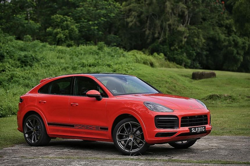 The Porsche Cayenne Coupe, compared with the Cayenne, has a sportier, sloping rear windscreen and the roofline is lowered by 20mm to portray a sleeker silhouette.
