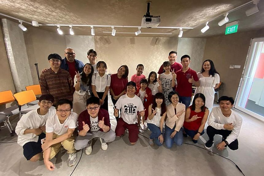 Right: The cartoon that creative director Kelvin Chan drew to inform and educate people about the coronavirus. Far right: The team behind the song Braver Together includes students from The Songwriter Music College and staff from music company Funkie