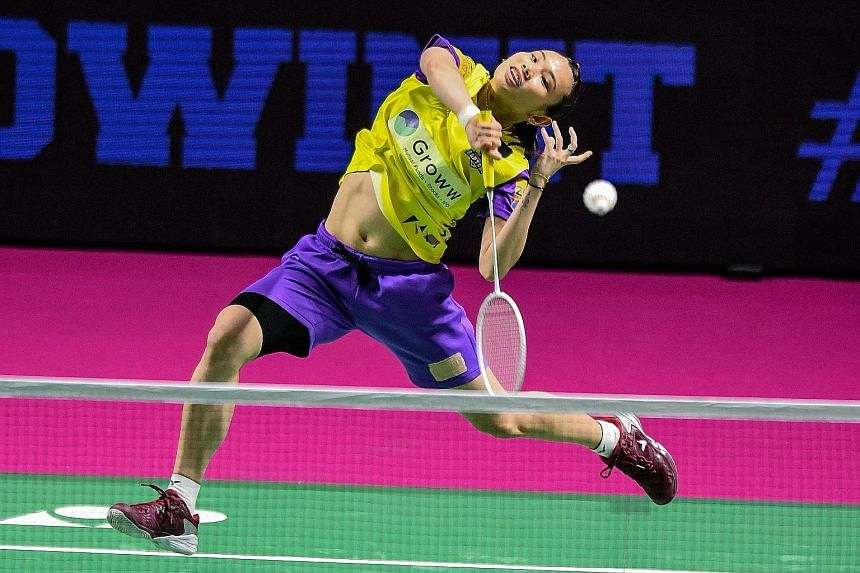 Taiwanese world No. 2 Tai Tzu-ying in action during the Premier Badminton League in Hyderabad, India, last week. The two-time Singapore Open champion has her sights set on winning the Olympic Games gold medal in Tokyo this year.