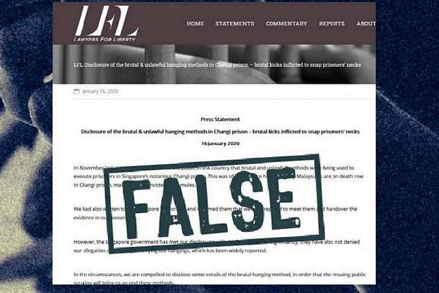 A screengrab from the Gov.sg website stating that the press statement by Malaysian NGO Lawyers for Liberty, which contained allegations by a former Singapore prison officer about executions, is false. Lawyer M. Ravi is representing two men who sought