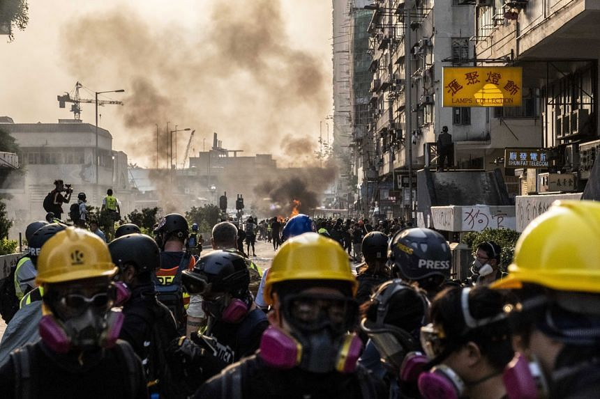 Protesters clashing with police in the Yau Ma Tei area of Hong Kong, on Oct 20, 2019.