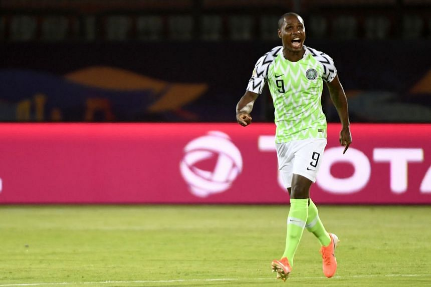 A July 2019 photo shows Ighalo in action for Nigeria in the Africa Cup of Nations.