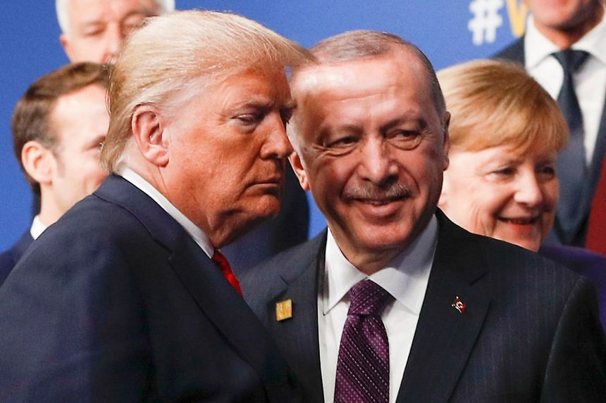 A December 2019 photo shows Trump (left) and Erdogan meeting at a Nato summit in Britain.