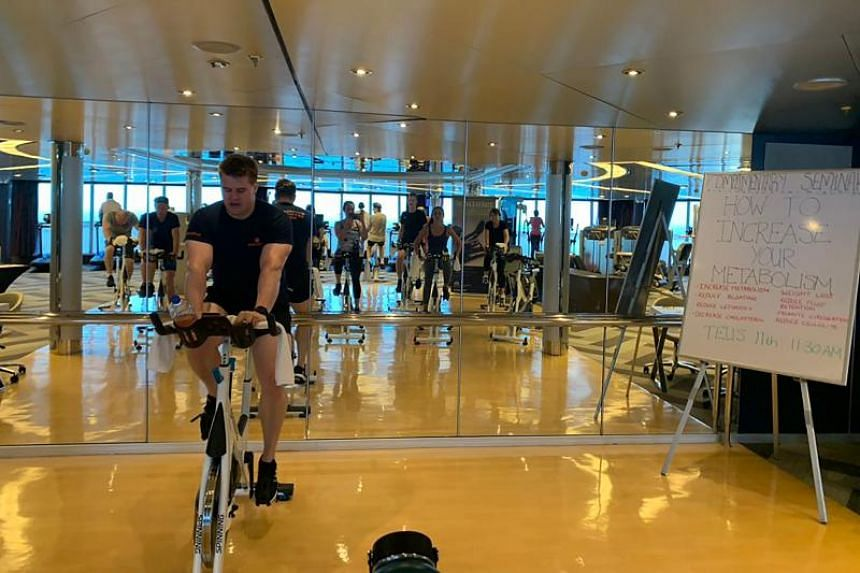 Passengers in a spin cycling class on board MS Westerdam on Feb 12, 2020.