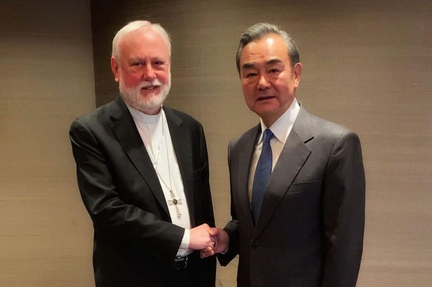 Archbishop Paul Gallagher, Holy See Secretary for Relations with States, meeting Chinese Foreign Minister Wang Yi on the sidelines of the Munich 2020 security conference in Munich on Feb 14, 2020.