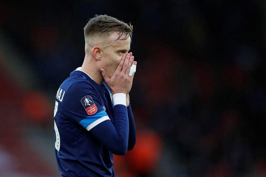 Huddersfield Town's Florent Hadergjonaj reacts during the match between Southampton and Huddersfield Town on Jan 4, 2020.