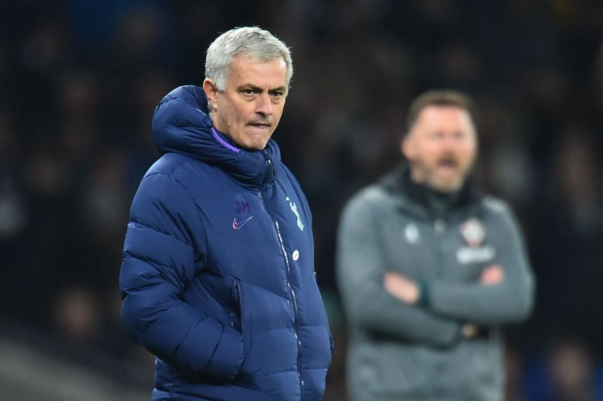 Tottenham Hotspur's coach Jose Mourinho reacts during the match between Tottenham Hotspur and Southampton in London, on Feb 5, 2020.