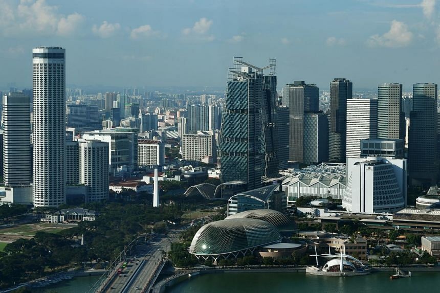 A view of the Singapore skyline.
