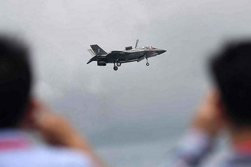 A US Air Force F35-B fighter jet taking part in an aerial display at the Singapore Airshow earlier this week.