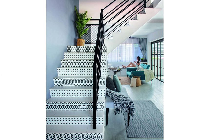 Patterned tiles (above) add interest to the staircase riser.