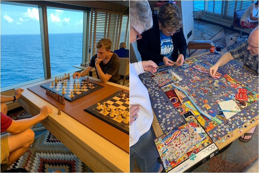 Passengers passing their time on board MS Westerdam on Feb 12, 2020.