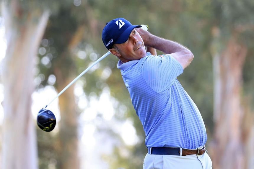 Matt Kuchar of the United States plays his shot from the ninth tee during the second round of the Genesis Invitational at Riviera Country Club in Pacific Palisades, California, on Feb 14, 2020.