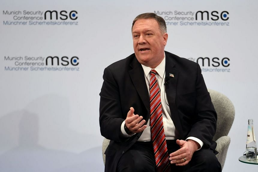 US Secretary of State Mike Pompeo speaking during a panel discussion at the Munich Security Conference on Feb 15, 2020. German President Frank-Walter Steinmeier took an indirect swipe at US President Donald Trump on Friday, saying his administration
