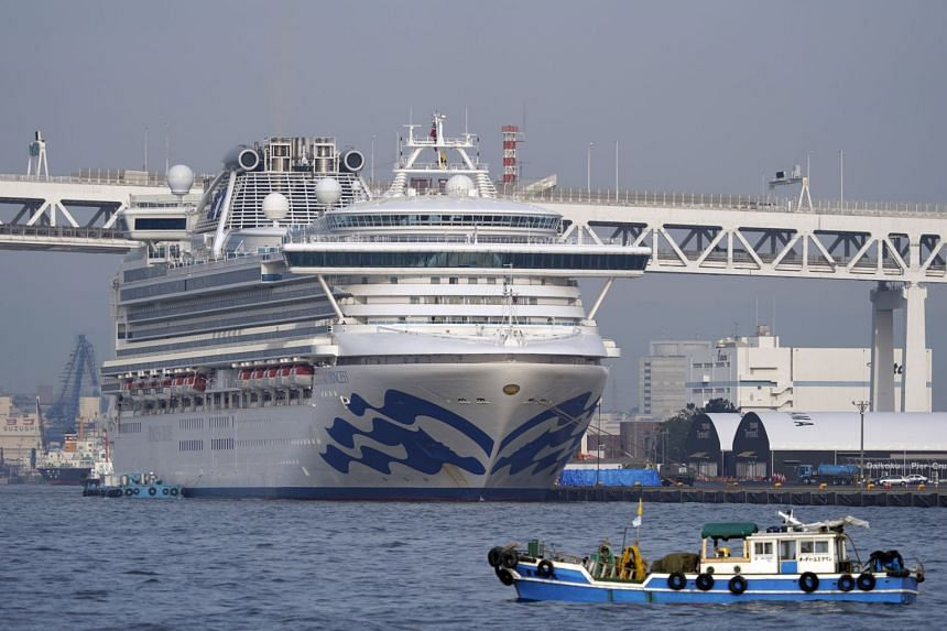 The Diamond Princess cruise ship docked at the Daikoku Pier Cruise Terminal in Yokohama, south of Tokyo, on Feb 14, 2020. The cruise liner's quarantine is set to end on Feb 19.