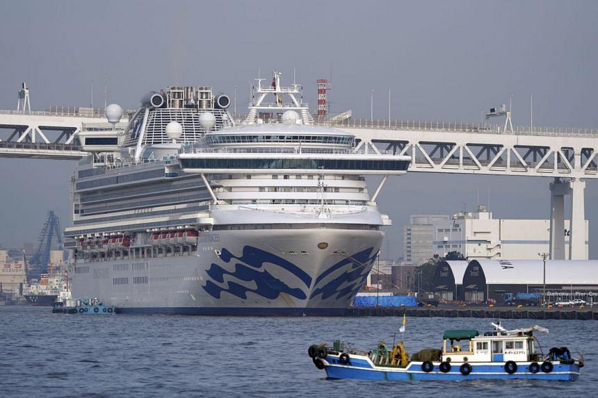 The Diamond Princess cruise ship docked at the Daikoku Pier Cruise Terminal in Yokohama, south of Tokyo, on Feb 14, 2020. The cruise liner's quarantine is set to end on Feb 19.