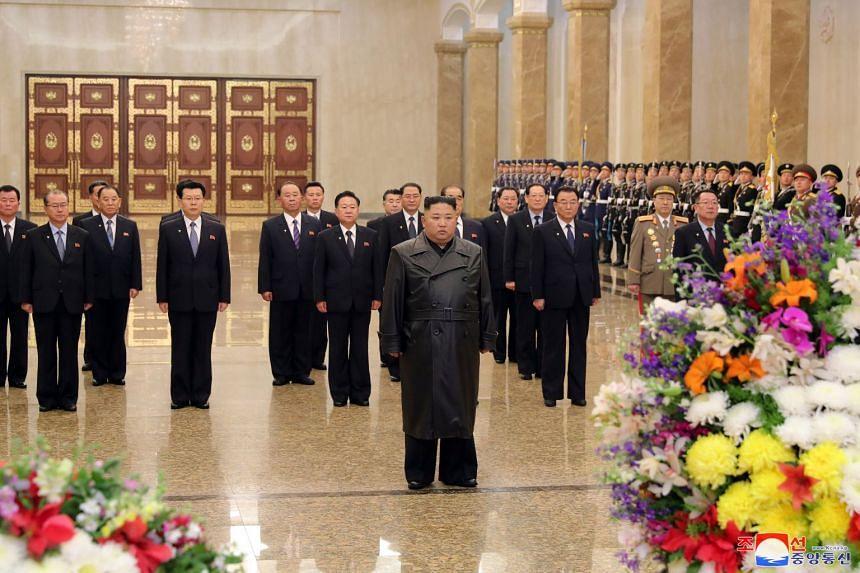 North Korean leader Kim Jong Un visits his father and former leader Kim Jong Il's mausoleum.