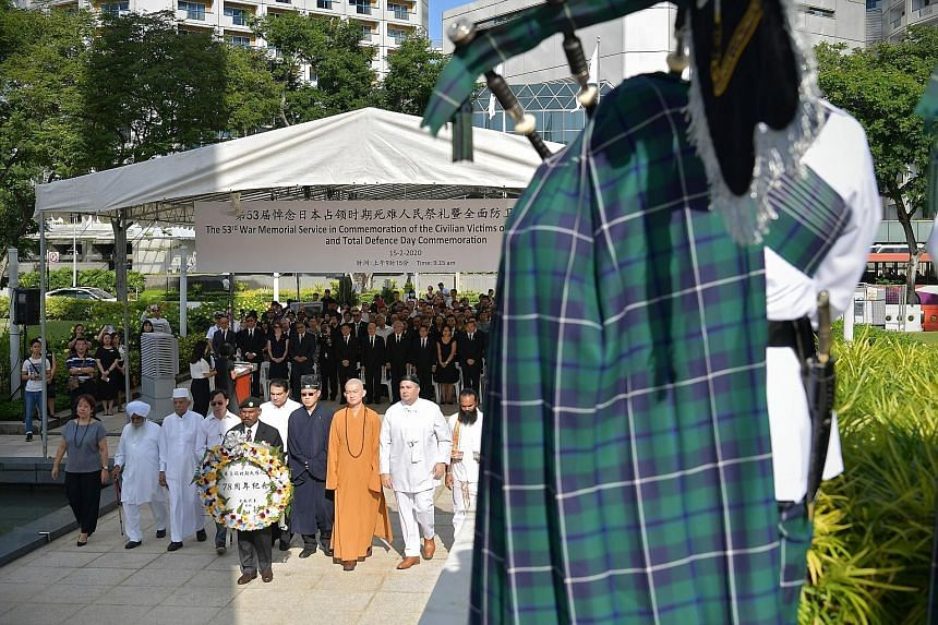 The bugle call of the Last Post pierced the air at the War Memorial Park in Beach Road yesterday morning, during the 53rd War Memorial Service held in commemoration of the civilian victims of the Japanese Occupation. The event, held in conjunction wi